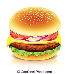 blanco, vector, hamburguesa, aislado, ilustración