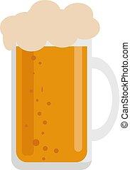 blanco, vector, jarrade cerveza, ilustración, fondo.