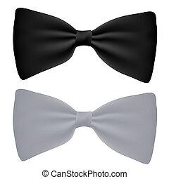 blanco, vector, negro, aislado, corbata de moño
