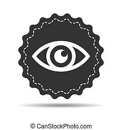 blanco, -, vector, ojo negro, ilustración, plano de fondo, icono