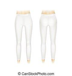blanco, vector, polainas, aislado, pantalones