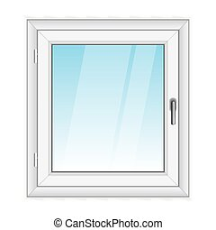 blanco, vector, ventana, pvc