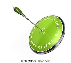 Blanco verde con la palabra cliente escrita en él con una flecha que golpea el centro