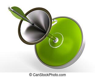 Blanco verde y embudo, una flecha en el centro de la imagen del dardo está aislada sobre el fondo blanco