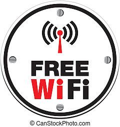 blanco, wifi, -, círculo, libre