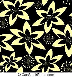 Blanco y negro patrón floral sin manchas.