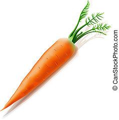 blanco, zanahoria, aislado, plano de fondo