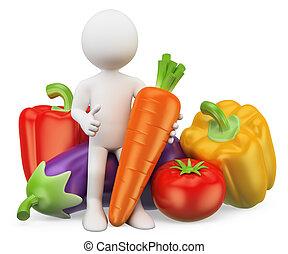 Blancos 3D. Comida saludable. Verduras