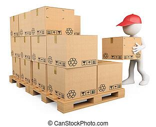 Blancos 3D. Stock boy amontonando cajas