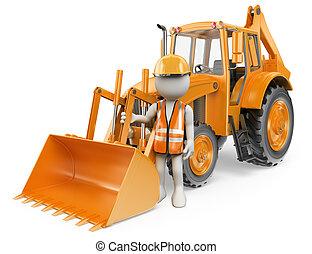 Blancos 3D. Trabajador con una excavadora. Digger