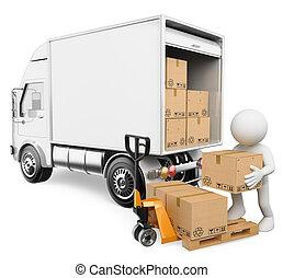 Blancos 3D. Trabajador descargando cajas de un camión
