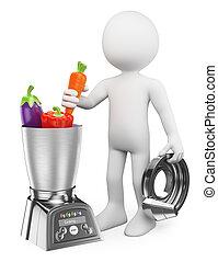 Blancos 3D. Un hombre cocinando saludable en un procesador de alimentos