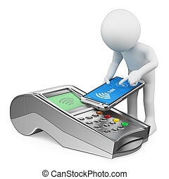 Blancos 3D. Un hombre pagando con un teléfono móvil con NFC