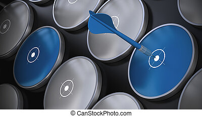 Blancos grises y azules sobre un fondo negro. Hay un dardo azul golpeando el centro de un objetivo: el concepto de negocios y marketing