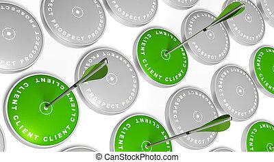 Blancos verdes con marcas de clientes flechas verdes golpeando el centro y blancos grises con la marca de perspectiva