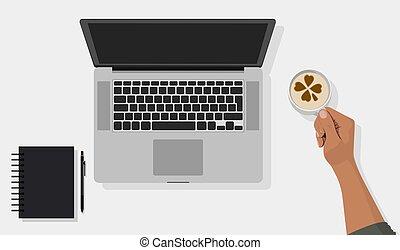 bloc, smartphone, café, computador portatil, taza, cima, oficina, tableta, plano de fondo, escritorio, vista