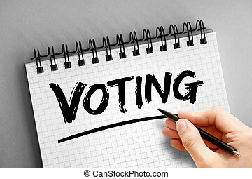 bloc, texto, plano de fondo, concepto, votación