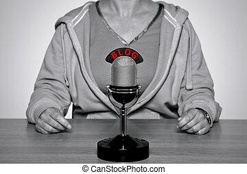 blog, micrófono