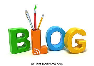 blog, palabra, colorido, cartas