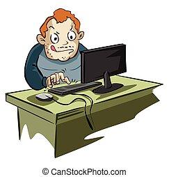 blog, usuario de computadora, obsesionado