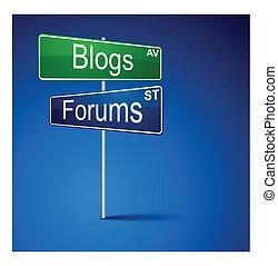 blogs, camino, dirección, signo., foros