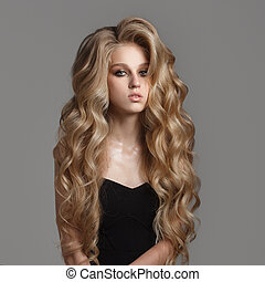 blonde., largo, lindo, hair., ondulado, sano, retrato, mujer