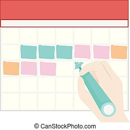 bloque, colores, mano, lleno, marca, ilustración, calendario