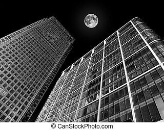 bloque, edificios de oficinas, rascacielos, moderno, torre, futurista
