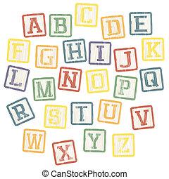 bloques, alfabeto, vector, eps8, collection., bebé
