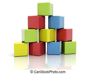 bloques, colorido, edificio