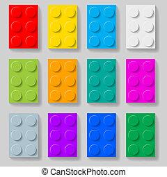 Bloques de construcción de plástico.