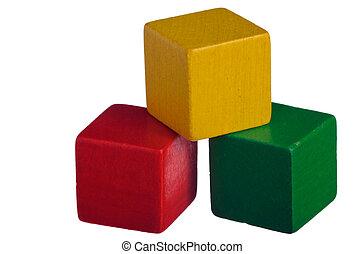 bloques, de madera, edificio