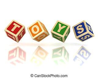 bloques, juguetes, de madera