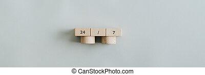 bloques, señal, de madera, 24/7