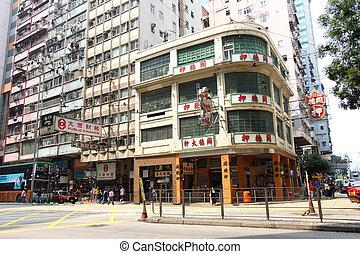 bloques, viejo, apartamento, hong kong