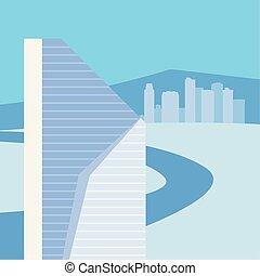Blue City Skyline Urban Buildings City Road
