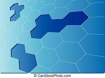 Blue hexagon mesh 3D crack fondo