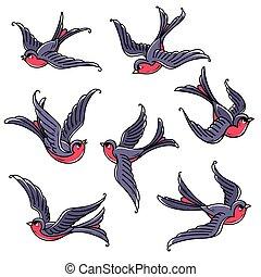 bluebirds., birds., conjunto, amor, prosperidad, símbolo, vuelo, libre, confianza, felicidad, venida, spring.