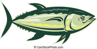 bluefin, aislado, lado, atún, blanco, visto