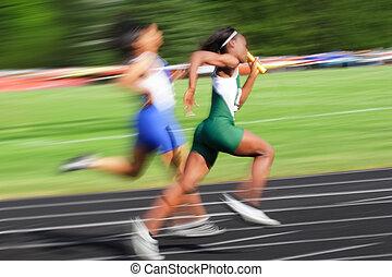 blur), relevo, (motion, carrera