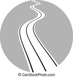 bobina, camino de asfalto, ilustración, vector