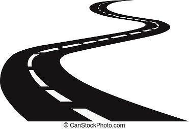 bobina, highway., road., viaje, tráfico, camino, perspective., curvo, horizonte