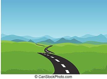 bobina, road., acción, verde, camino, ilustración, paisaje, cielo azul, vector