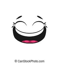 boca abre, emoticon, ojos, blinked, risa