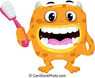 Boca de monstruo cepillo de dientes sano