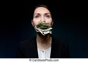 boca, empresa / negocio, ella, pequeño, mujer, dinero, silencioso, because