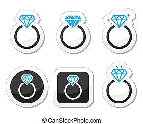 Boda, anillo de compromiso de diamantes