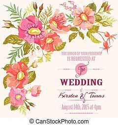 Boda de invitación floral - salvar la fecha - en vector