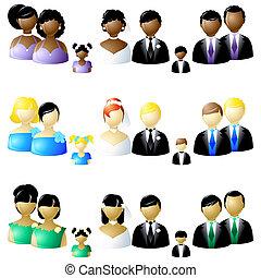 boda, tres, fiesta, conjuntos, iconos