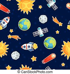 bodies., celestial, planetas, patrón, sistema, seamless, solar
